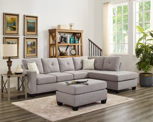 New light grey soft linen fabric sofa sectional with ottoman and nailhead trim for Sale in Corona, CA