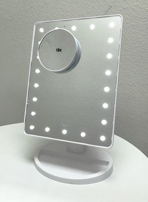"""New in box $15 each 11x6.5"""" LED Vanity Makeup Mirorr Touch Screen Dimming w/ 10x Magnifying (Black or White) for Sale in Pico Rivera, CA"""