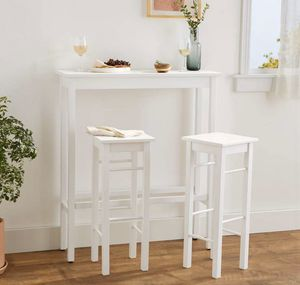 Small Breakfast Bar Bistro Table - 3-Piece Set, White - New! for Sale in Plainfield, IL