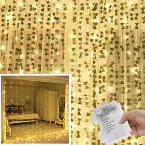KASZOO 12 Pack Artificial Ivy Leaf Plants with 240 LED Window Curtain String Lights, Fake Plants Vine Hanging Garland, Hanging for Wall Party Wedding for Sale in Brooklyn, NY