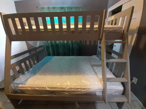 Bunk beds like new. Wood, gray.. plastic on mattress. CALL HELEN {contact info removed} . {contact info removed} offer up for Sale in Visalia, CA