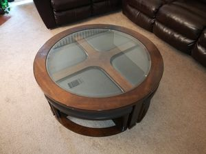 Coffee Table / Center Table / Round Table - Glass & Wood top - With seat stool / benches for Sale in Newark, CA