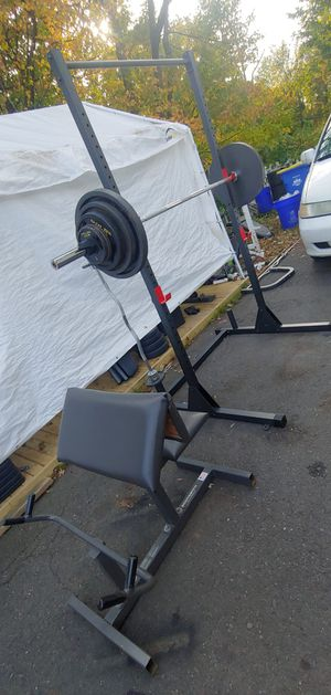 Title: Squat Rack/ Olympic Bar & Curl bar/ 280 Pounds/ Preacher Curl - Can deliver!! for Sale in Somerset, NJ