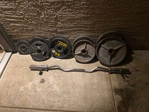 Olympic weights and Olympic curl bar for Sale in Phoenix, AZ