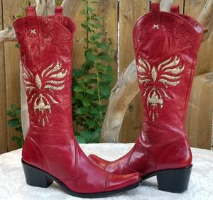 Jessica Bennett Red western cowgirl cowboy boots Size 8.5 for Sale in Arlington, TX