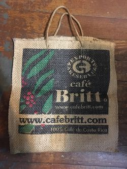 "Cafe Britt Thick Burlap Tote Bag Costa Rica Coffee Bean Sack 16"" X 17"" for Sale in Oakland,  CA"