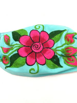 Face mask Mexico embroidered daisy flower 3 layers w/ filter for Sale in Edinburg, TX
