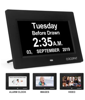 Dementia Digital Day Week Clock - 19 Alarms Am/Pm Clock with USB Charger Port, SD Card Support Play Picture, Video, Large Display for Seniors,Perfect for Sale in Corona, CA