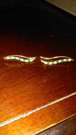 Emerald n diamond 1 and a quarter inch long earrings for Sale in Phoenix, AZ