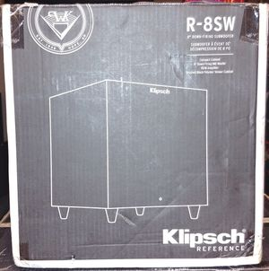 Klipsch Reference R-8SW Surround Subwoofer, 150 Watts Peak Power (Brushed Black Vinyl, 8-Inch) for Sale in Fontana, CA