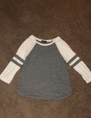 Grey & White Baseball Tee with 3/4 Length Sleeves for Sale in Stockton, CA