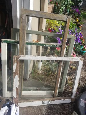 3 old windows and a frame for Sale in Portland, OR