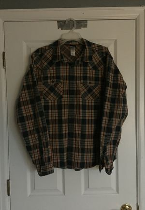Men's Size L Patagonia Plaid Long Sleeve Button Down Black Orange Blue Cream for Sale in Colorado Springs, CO