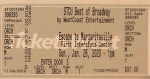 Escape to Margaritaville tickets, Sunday 1:00 pm 2 tix, $50 each for Sale in Spokane, WA