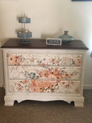 All refurbished furniture- was cleaned, sanded, fixed, primed and painted from original wood. Dresser with transfer $260, black end table $125, bigg for Sale in Myerstown, PA