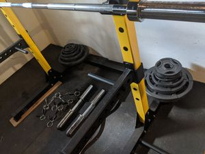 Squat rack, bench rack, with olympic weights barbell, dumbbells, curl bar and rubber mats for Sale in Portland, OR