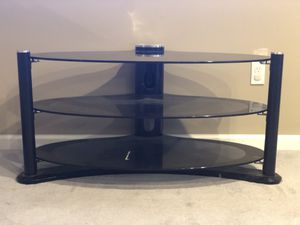 ELECTRONICS STORAGE TABLE SMOKED GLASS BLACK TRIM 3 SHELVES black trim for Sale in Pigeon Forge, TN