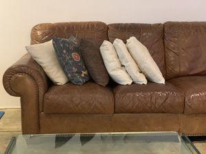 Genuine leather sofa double stitched for Sale in Miami, FL