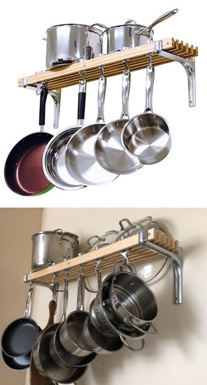 """New $30 Kitchen Wall Mounted Wooden Pot Rack 36x8"""" Storage Shelf Hooks for Sale in Pico Rivera, CA"""