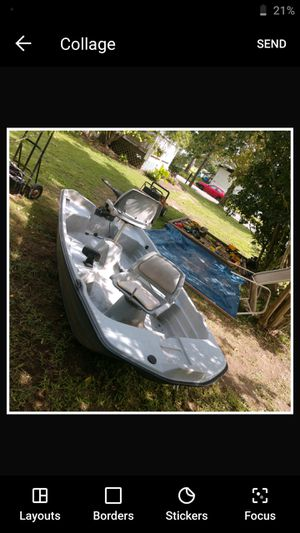 Bass tender 10.2 nice solid lil boat with everything it needs just wanna test waters see what trades I can get obo for Sale in Hayes, VA