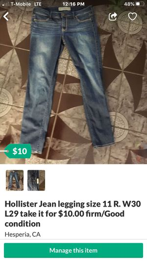 Hollister Jean legging size 11 R. W30 L29 take it for $10.00 firm/Good condition for Sale in Hesperia, CA