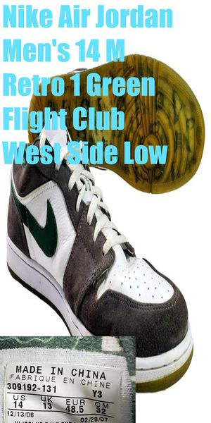 Nike Air Jordan Retro 1 Mens 14 Shoes Green West Side Low 309192-131 Flight Club for Sale in Willowbrook, IL