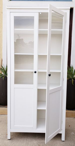 Lk NEW! Ikea Double 2 Glass Doors White Display Bookcase Bookshelves Organizer Stand Unit Pantry Kitchen Bath Cabinet + Shelves INCLUDED for Sale in Monterey Park, CA