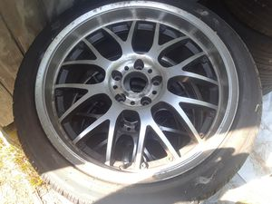 18 inch asa rims 225 45 18 tires the tires are close to new few flaws on rims not perfect 5x112 I believe they came off 98 audi a4 for Sale in Readyville, TN