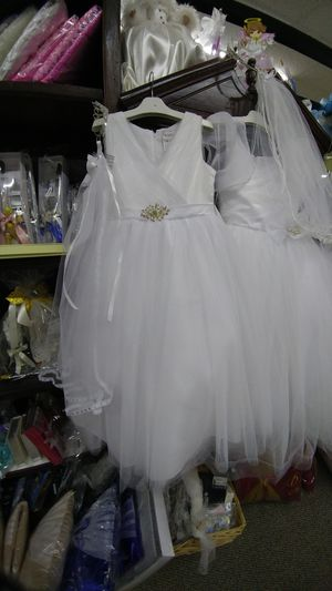 White Ivory different colored dresses for communion and baptism a flower girls for Sale in Houston, TX