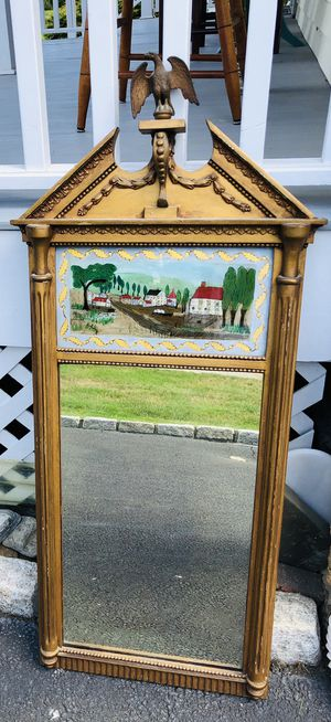 Antique Federal Hand Painted Trumeau Mirror for Sale in Greenwich, CT