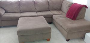 Suede tanish/ brown sectional with ottoman for Sale in Herndon, VA