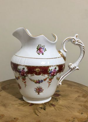 """Shabby Chic Vintage Style Gold Trim Floral Vase Pitcher 10"""" H (White, Flowers) for Sale in Kendall, FL"""