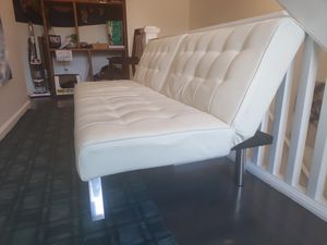 Modern creme/white Couch, lays flat like futon for Sale in San Francisco, CA