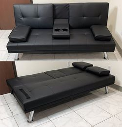 "New in box $190 Futon Sofa Bed Convertible Recliner Couch Living Room Furniture, Cup Holder (66x32x28"") for Sale in El Monte,  CA"