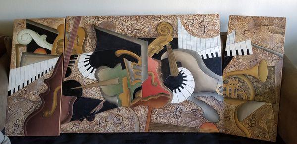 3 piece musical wall art