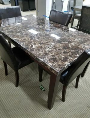 $39 Down  🍃🍂 BEST DEAL Teague Brown Faux Marble Dining Set 287 for Sale in Jessup, MD