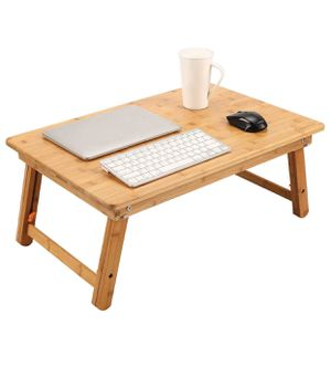 Large Size Laptop Tray Desk NNEWVANTE Foldable Lap Table Bed Tray, TV Tray Floor Table Bamboo Adjustable Breakfast Serving Tray Writing Gaming 4 Leg for Sale in Los Angeles, CA
