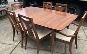 Mid century modern walnut dining table and 6 chairs set for Sale in Portland, OR