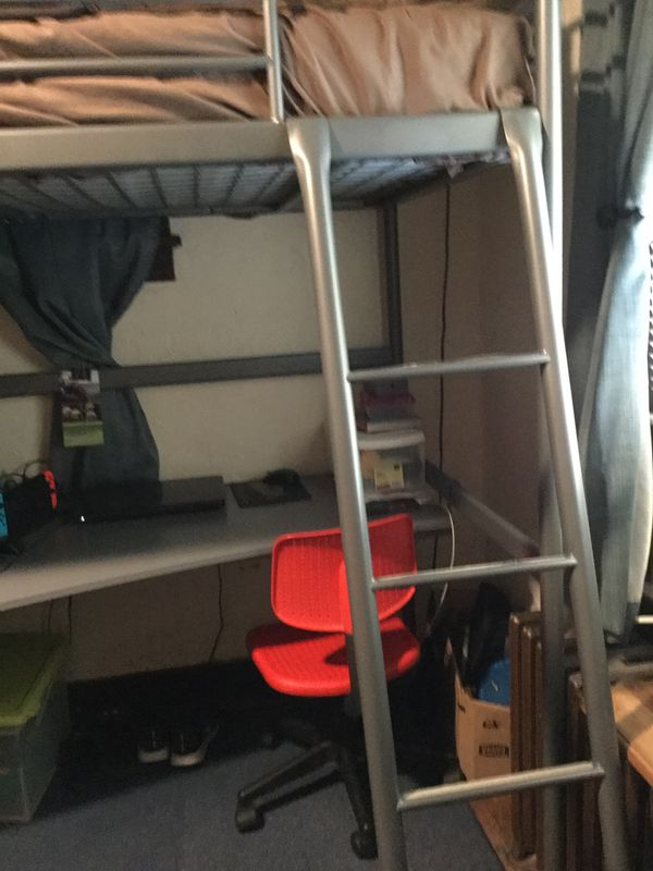 iKEA bunk bed with a desk