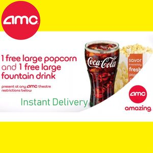 AMC Free 1 Large Drink & 1 Large Popcorn. Exp Dec 2020 for Sale in Costa Mesa, CA