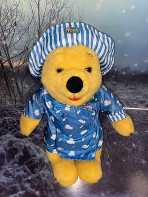 "Rare DISNEY Winnie The Pooh 12"" Colourful Rainy Day Teddy Plush Soft Toy with rain coat and hat. for Sale in Long Beach, CA"