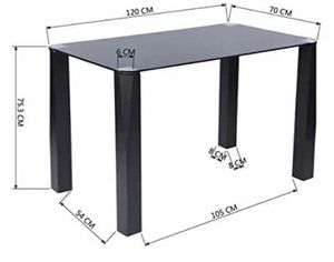 Dining Table Black Tempered Glass Top Wood Frame Leg - New for Sale in Long Beach, CA