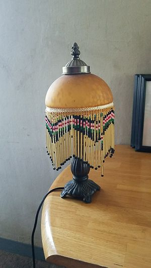 Brass lamp with glass and Beads shade for Sale in Columbus, OH