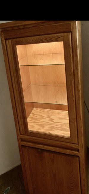 Lighted Curio with Glass Shelves & bottom Storage for Sale in Anaheim, CA