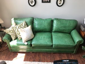 Green leather couch for Sale in Gates Mills, OH