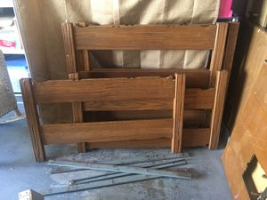 Solid oak twin bunk beds and matching desk with chair for Sale in Los Angeles, CA