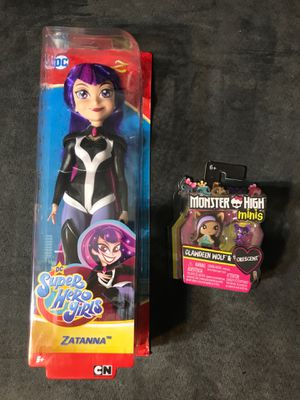 Super heroe dc doll + monster high $5 both new for Sale in Downey, CA