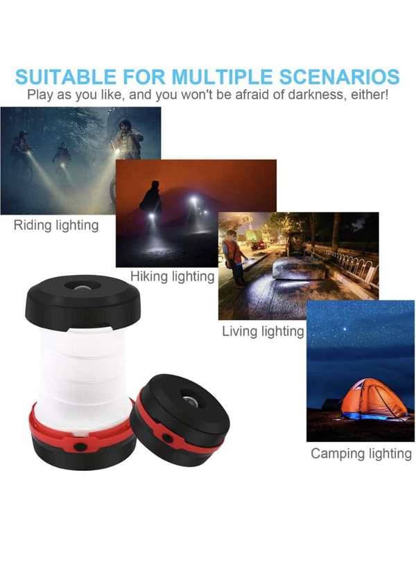 LED Camping Lantern, Upgraded Flashlight Collapsible Outdoor Tent Emergency Light, Portable Brightest Lamp for Power Outage Emergencie, Carabiner for