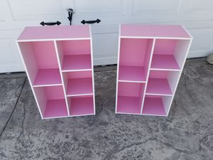 2x Furinno 5-Cube Reversible Open bookcase Shelf, White/Pink 11069WH/PI Book case for girls teenagers ladies for Sale in Los Nietos, CA