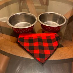 Two Dog Bowls And Bandana Collar for Sale in Fishers,  IN